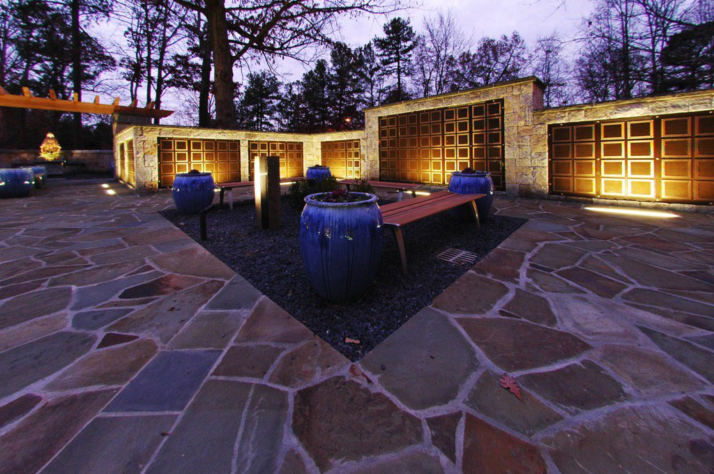 All Saints Catholic Church Columbarium Benches and Planters at Dusk