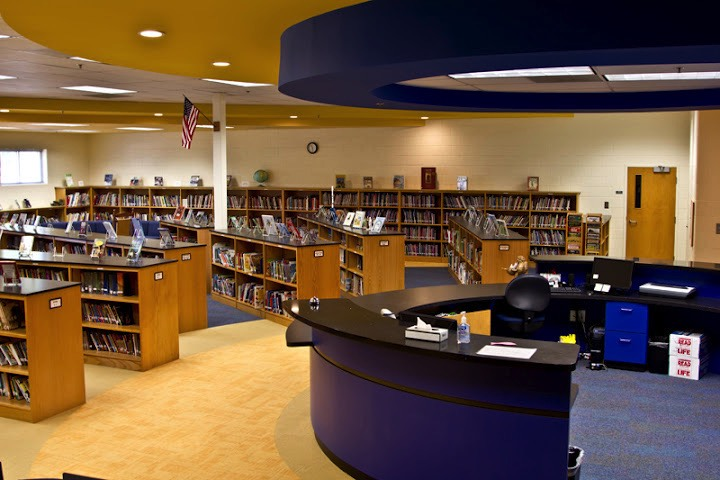 Queen of Angels Catholic School Media Center Staff Desk and Bookcases