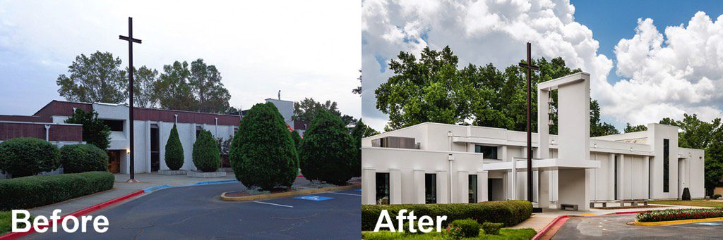 Corpus Christi Catholic Church Front Entrance Before and After