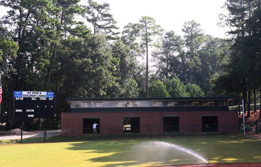 St. Pius X Indoor Baseball Facility Exterior with Open Doors
